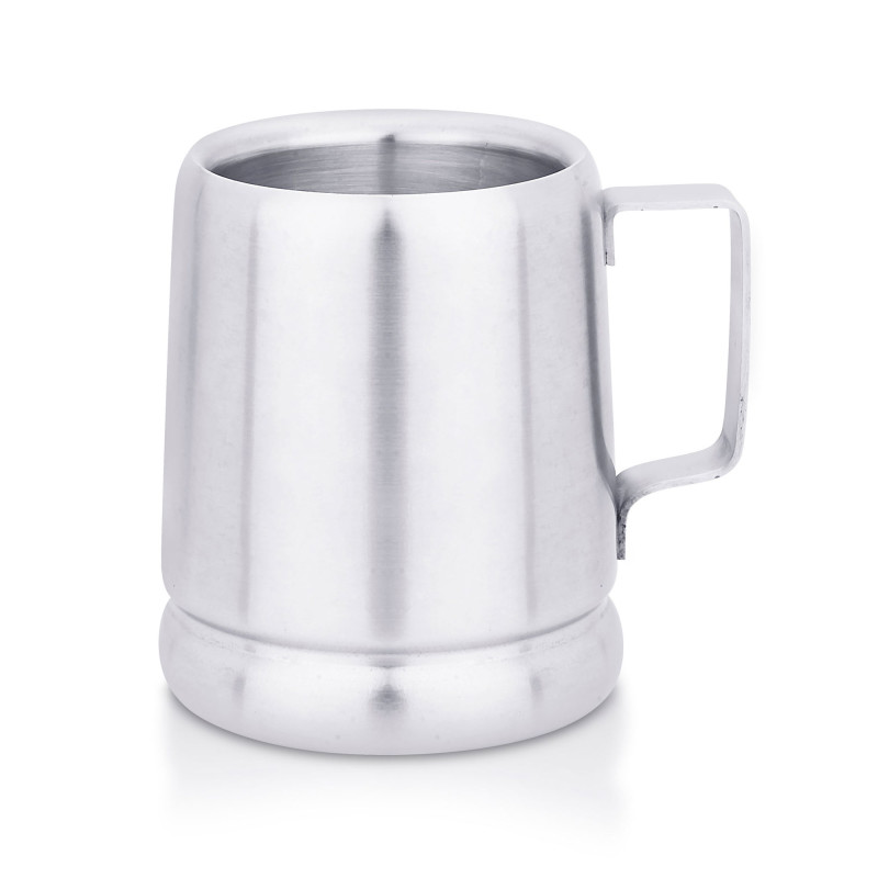 A Double wall conical mug with a steel finish