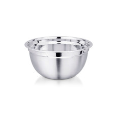A german bowl with a steel finish and a wide circumference, Kitchenware