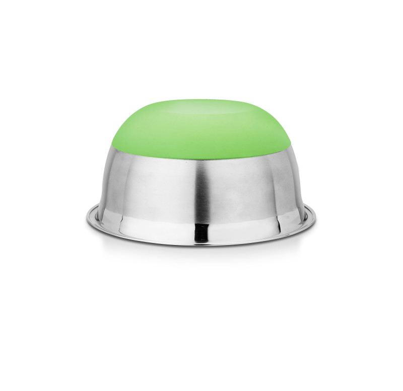 An upside down view of a stainless steel bowl with a green base , Kitchenware