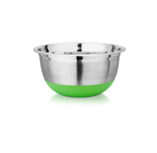 Stainless steel bowl with a green colored silicone base, Kitchenware