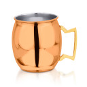 Barrel with a shimmery copper finish, barware