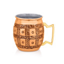 Glamorous looking barrel with a copper finish, barware