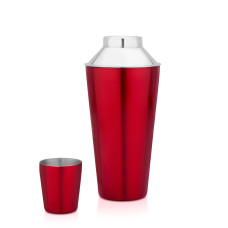 Stylish red colored cocktail shaker, barware
