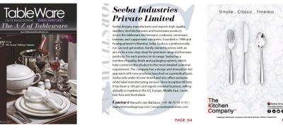 Flatware export company featured in Tableware International Magazine